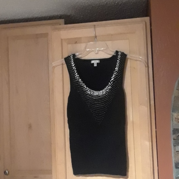 Cache Tops - Cache Black And Sparkly Design Tank Top